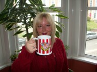 Competition Winner Helen King with her Bullseye Mug